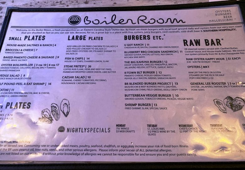 Menu at the Boiler Room in Kinston - nctriangledining.com