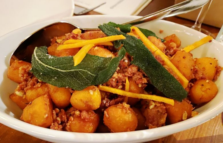 Sweet potato gnocchi at the Chef and the Farmer in Kinston, NC - nctriangledining.com
