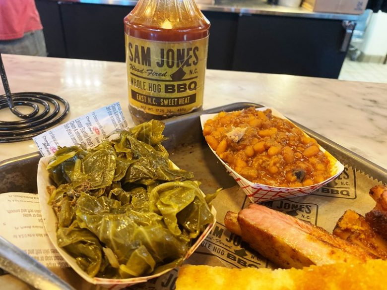 Collards and baked beans at Sam Jones Barbeque in Winterville - nctriangledining.com