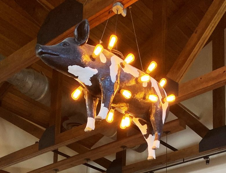 Hog light overhead at Sam Jones BBQ in Winterville - nctriangledining.com