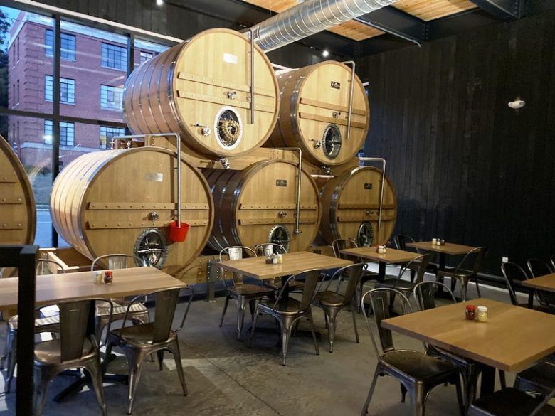 Barrel room at the new Trophy Brewing and Pizza in Raleigh - nctriangledining.com