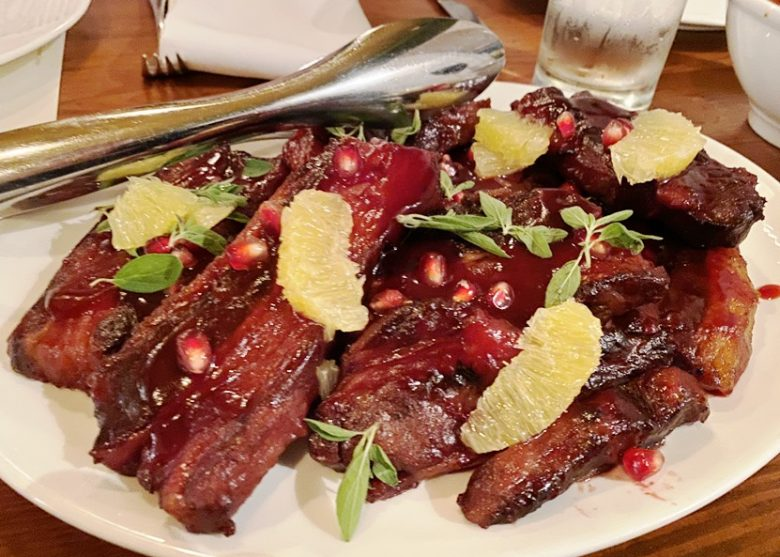 Beef ribs with cranberry-orange glaze at the Chef and the Farmer in Kinston, NC - nctriangledining.com