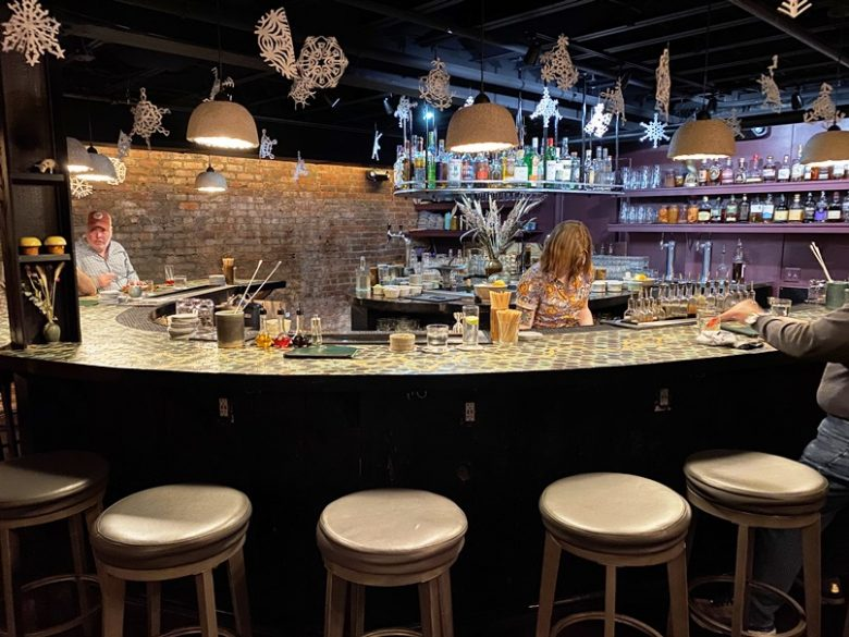Colorful and hip bar at Kingfisher in Durham - nctriangledining.com