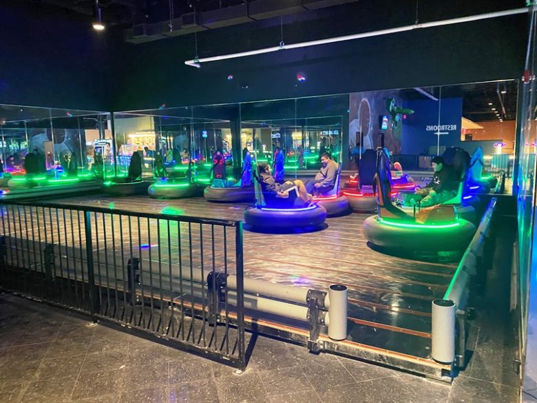 Bumper cars at Stars and Strikes in Raleigh -nctriangledining.com