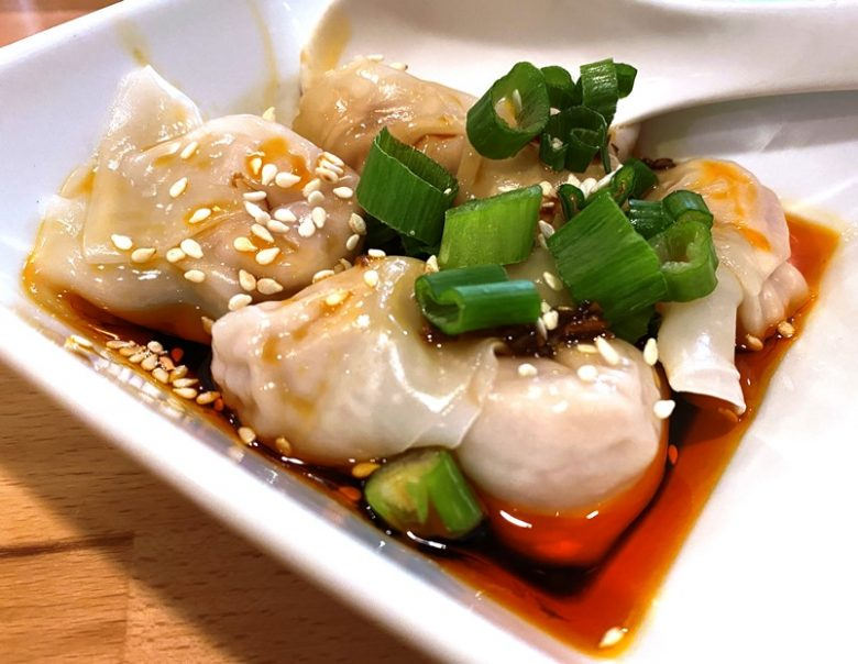 Dumplings in chili oil at Chuan Cafe in Raleigh - nctriangledining.com