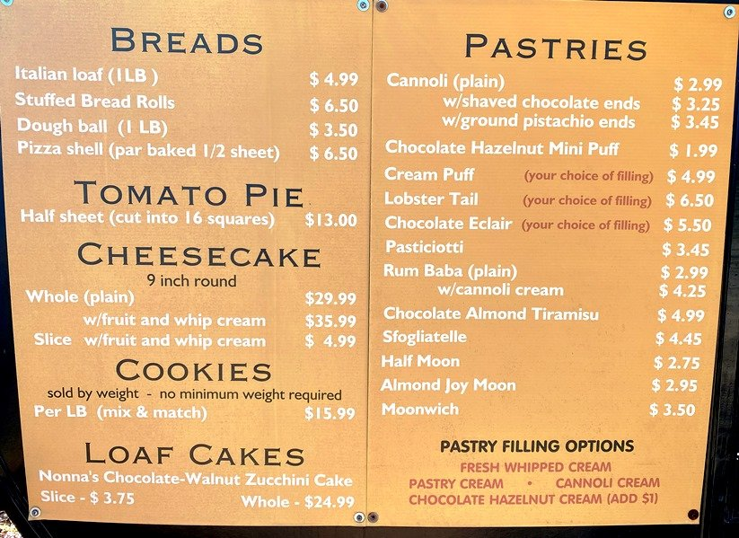 Menu and Prices at Utica Bakery in Apex (Oct 2021)- nctriangledining.com