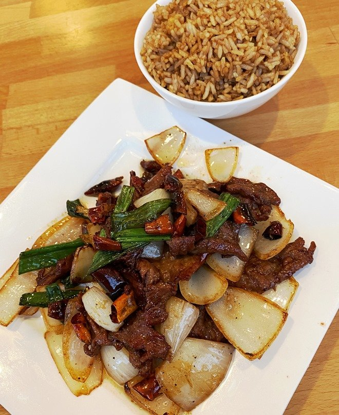 Mongolian beef and fried rice lunch at Chuan Cafe in Raleigh - nctriangledining.com