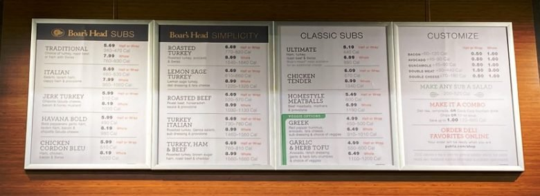 Sub menu at Publix on Peace Street in Raleigh - nctriangledining.com