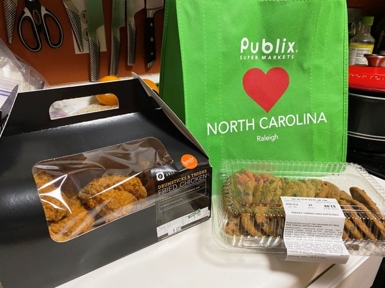 Fried chicken and chocolate chip cookies from Publix on Peace Street in Raleigh - nctriangledining.com