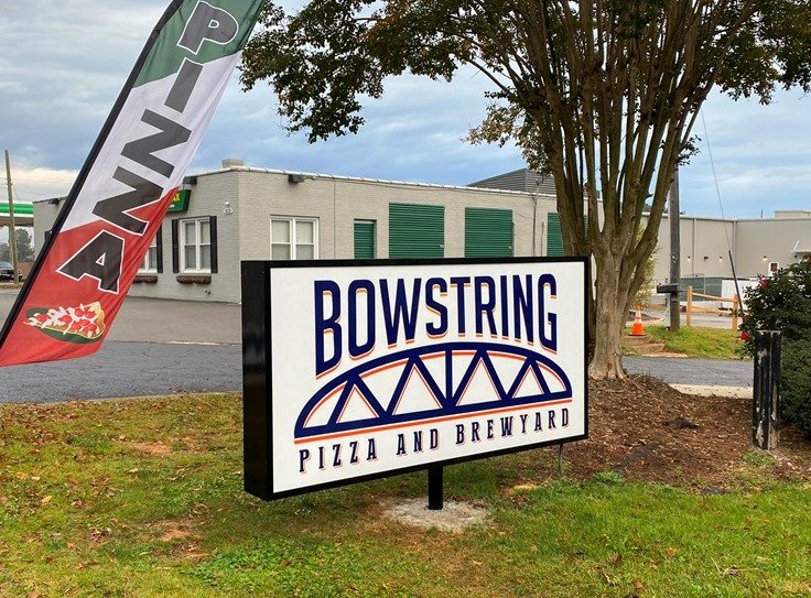 Signage at Bowstring Pizza and Brewyard in Raleigh - nctriangledining.com