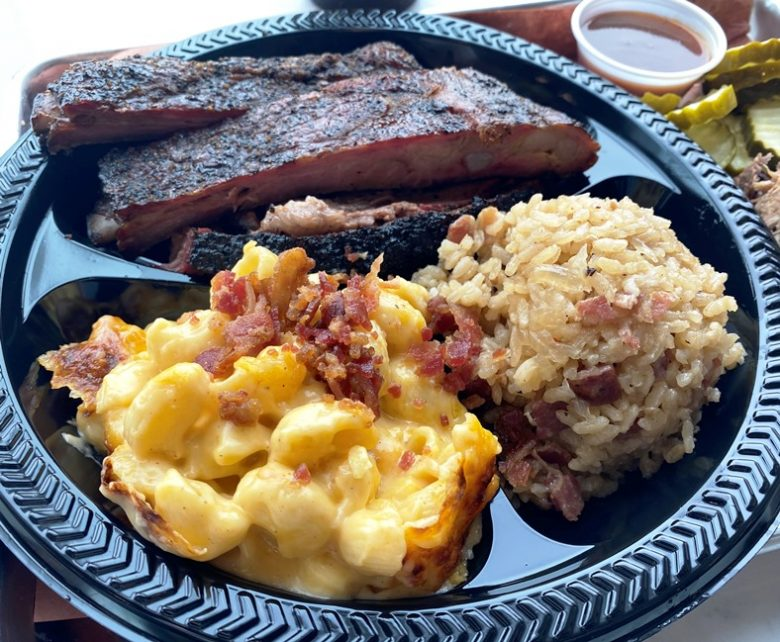 Two meat combo (ribs, brisket) with mac n cheese and barbeque rice at Prime Barbecue in Knightdale - nctriangledining.com