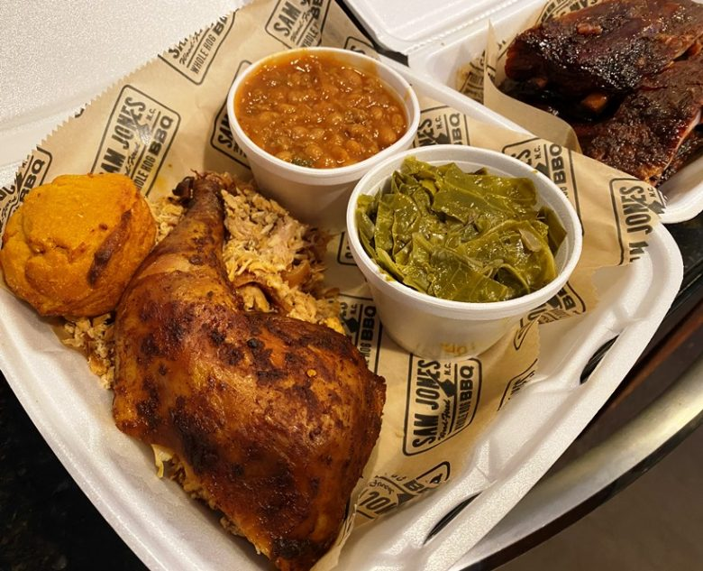 Barbeque, smoked chicken and sides at Sam Jones BBQ in Raleigh - nctriangledining.com