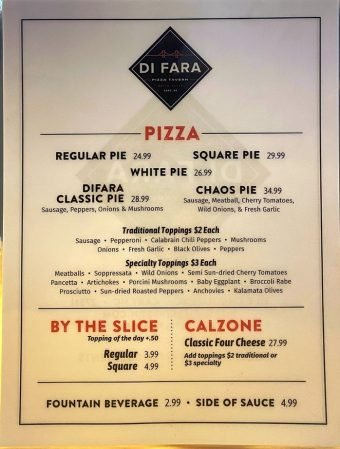 Food menu at Di Fara Pizza Tavern in Cary - nctriangledining.com