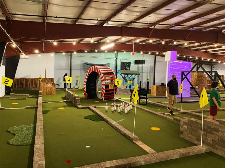 Yellow, easy mini golf course at ParTee Shack in Raleigh - nctriangledining.com