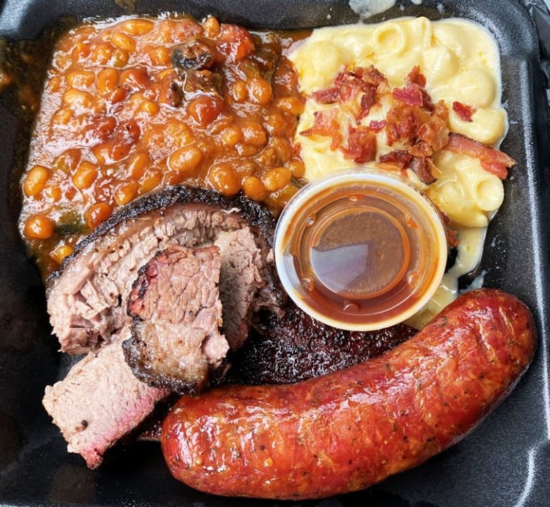 Two meat combo (brisket, sausage) with baked beans and mac n cheese at Prime Barbecue in Knightdale - nctriangledining.com
