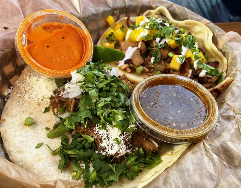 Green chile pork and brushfire tacos at Torchy's Midtown East in Raleigh - nctriangledining.com