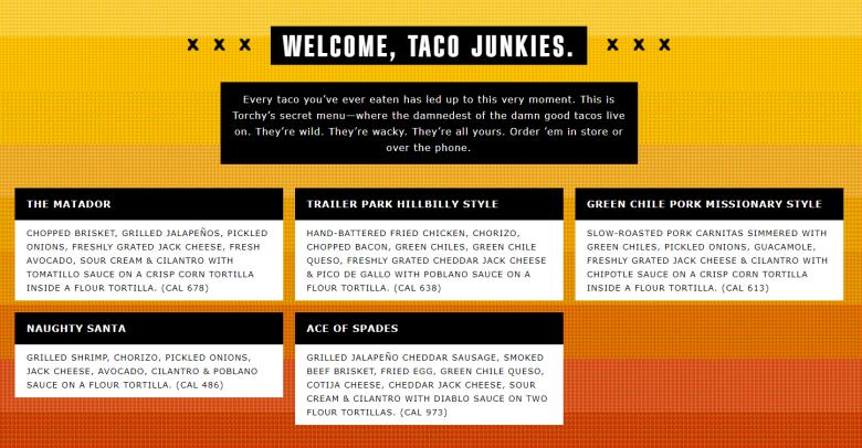 Torchy's secret taco menu, Raleigh - nctriangledining.com