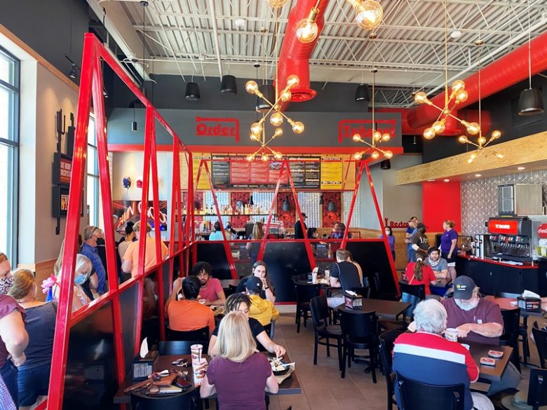 Busy dining room at Torchy's Tacos in Raleigh - nctriangledining.com