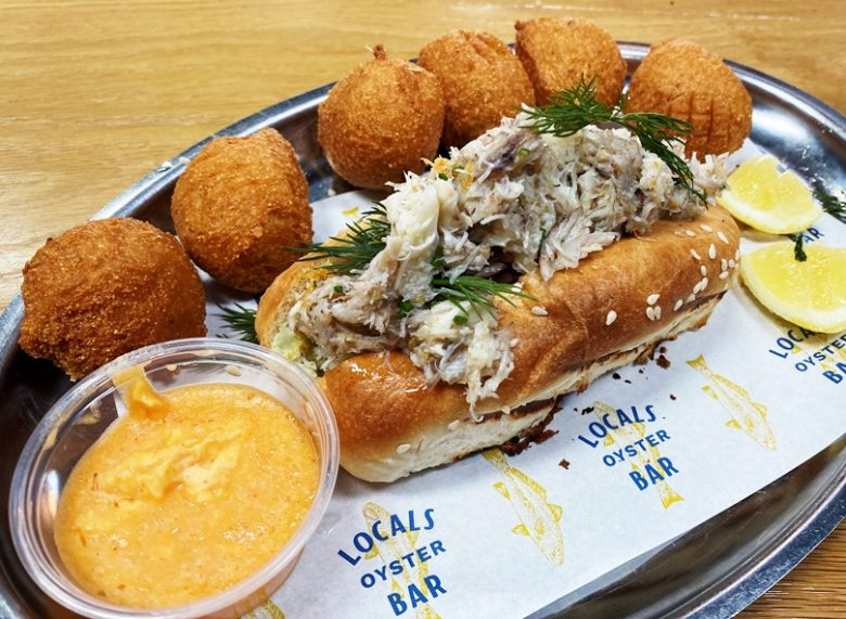 Crab roll and hushpuppies at Locals Oyster Bar in Raleigh - nctriangledining.com