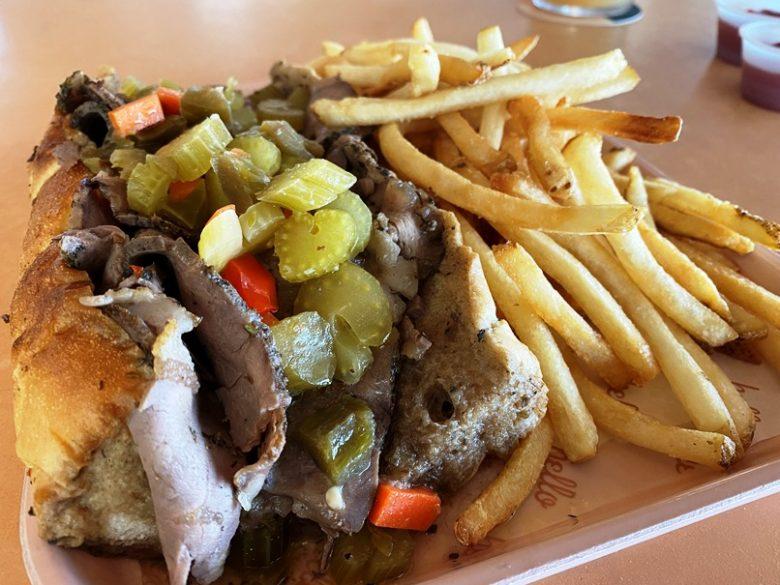 Hot Italian beef sandwich at Hello Sailor in Cornelius, NC near Lake Davidson - nctriangledining.com