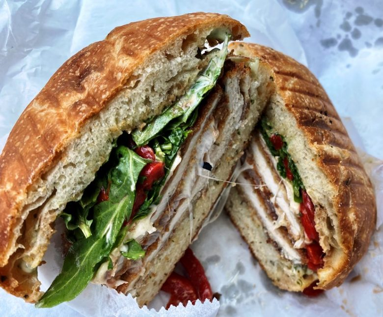 Chicken cutlet sandwich on focaccia at Ideal's Sandwiches and Groceries, Durham - nctriangledining.com